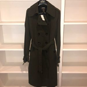 NWT Brooks Brothers Green Woven Trench- Size 8